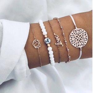 Jewelry - 3/$30 - 5 Piece Boho Layering Bracelet Set Love